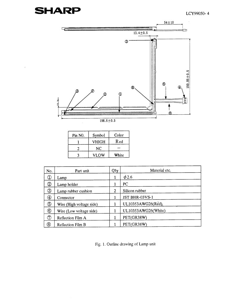 182 x 140 x 2.6mm L shaped bulb Assembly LQ084V1DG21 LQ0DDB0004 lcy-99050 SUPPLIED WITH WIRES AND CONNECTORS, PLEASE USE THE METAL FRAME FRO - Click Image to Close