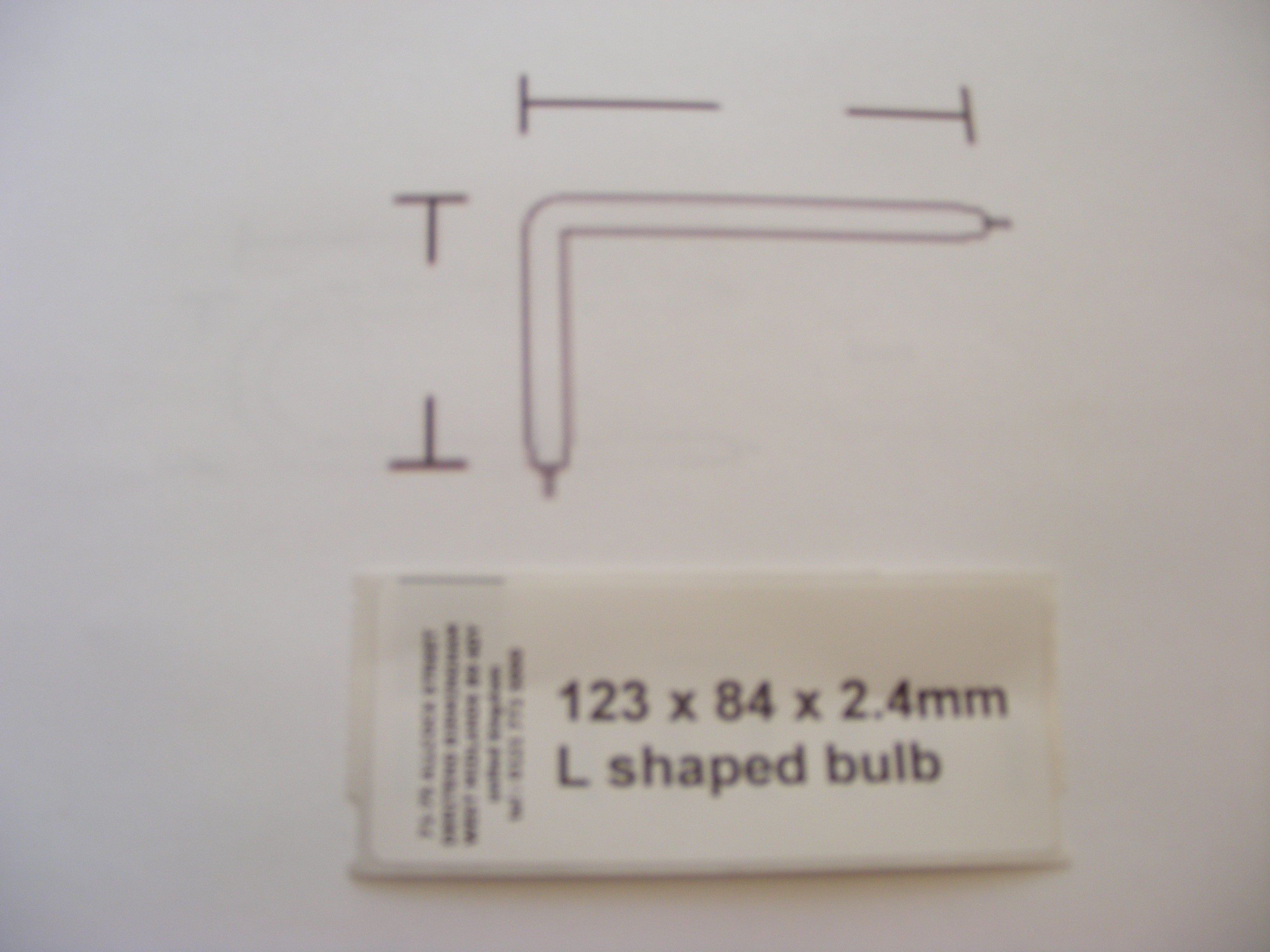 123 x 84 x 2.4mm L shaped bulb