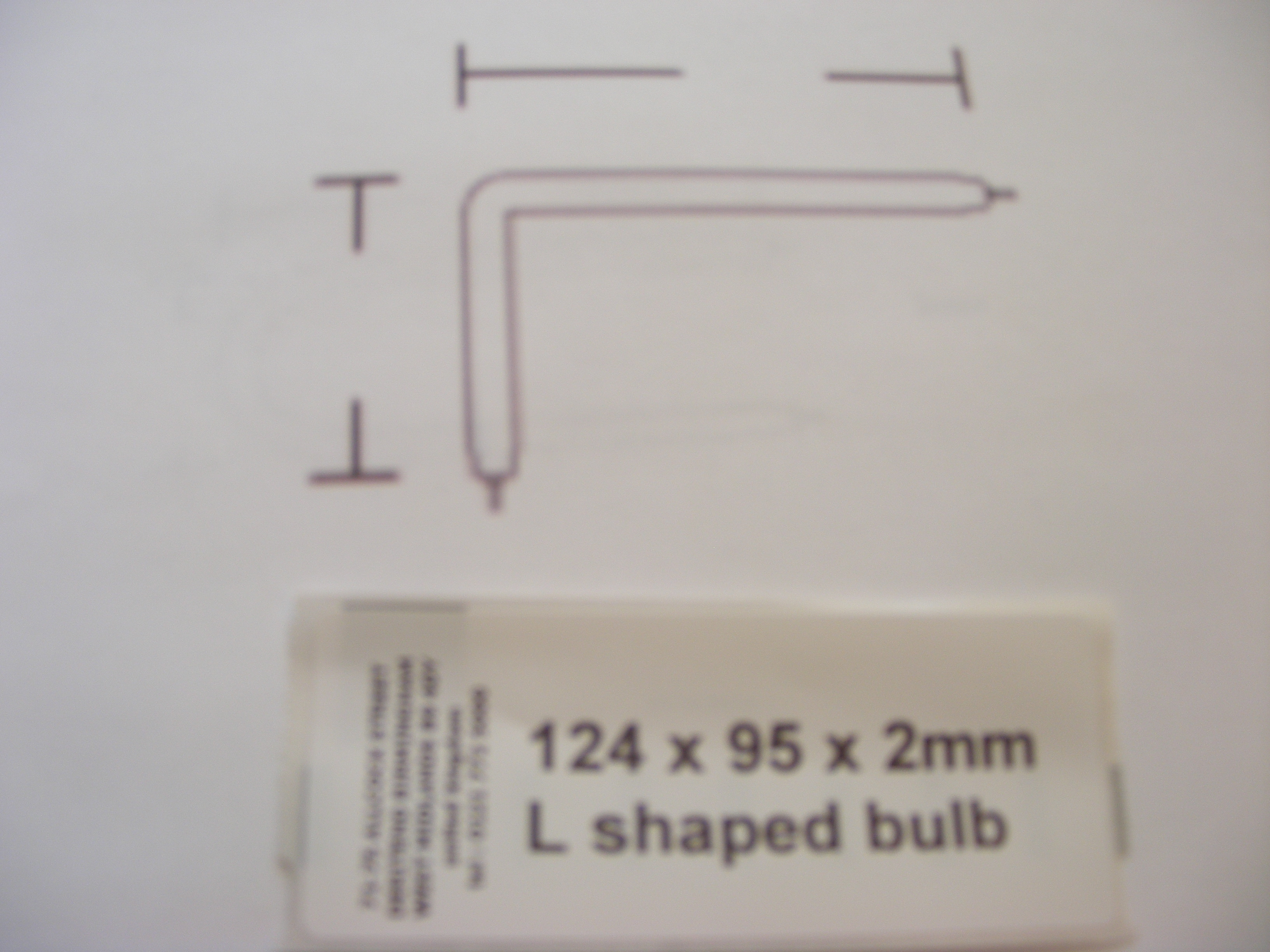 124 x 95 x 2mm L shaped bulb